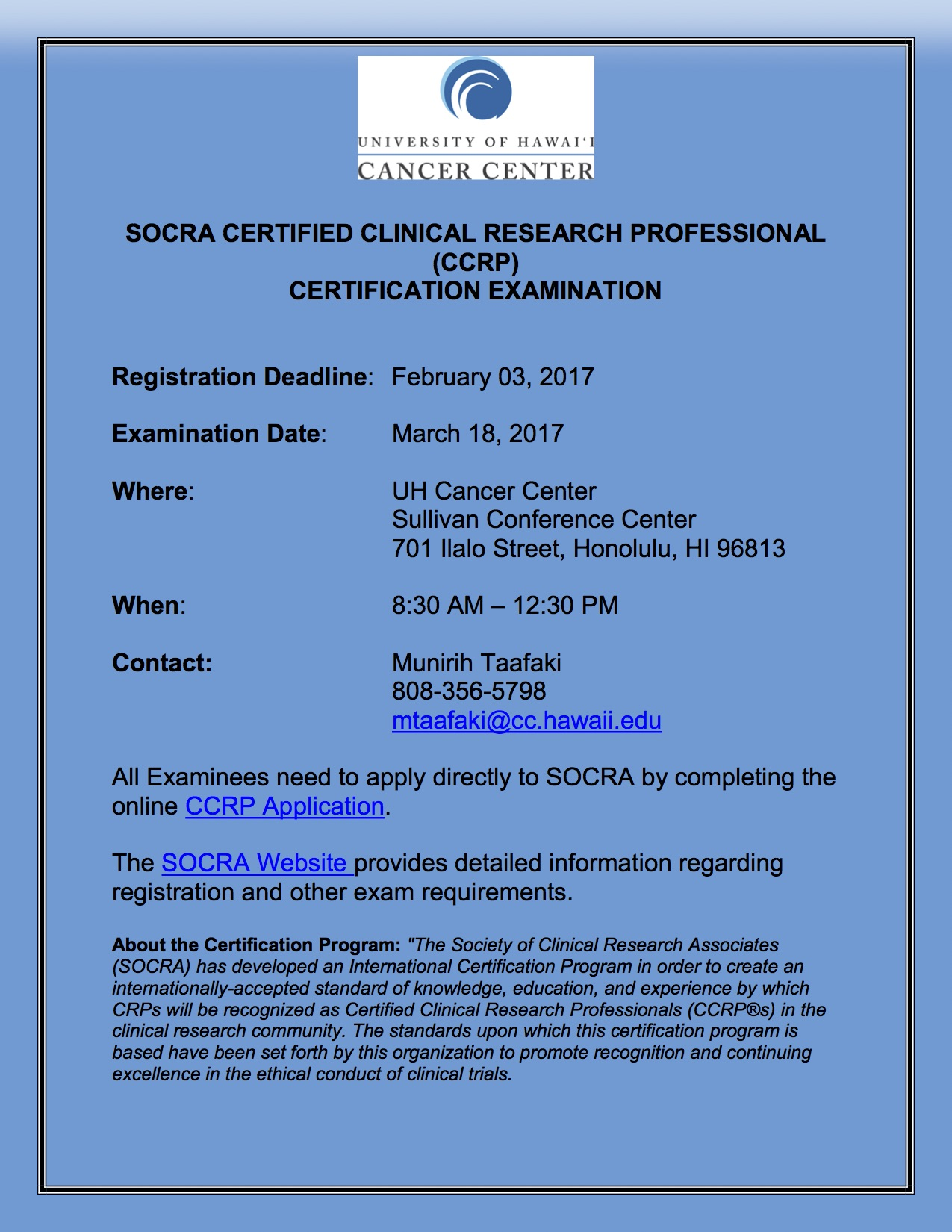 Registration Deadline Socra Certified Clinical Research