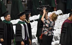 Tina Shelton gets closeup video of the MD Class of 2018 in their UH Commencement Exercises Procession.