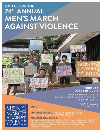 The flyer for the Men's March Against Violence in 2018. The event information has the same information.