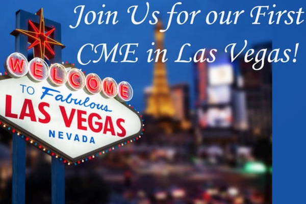 """Picture of Las Vegas sign, text reads """"Join us for our first CME in Las Vegas"""""""