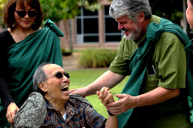 Dr. Blaisdell is greated by Dr. S. Kalani Brady.
