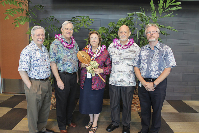 L-R: Dean Jerris Hedges, UH M?noa Chancellor Robert Bley-Vroman, Dr. Patricia Blanchette, her husband, Gerard, and Dr. Joe Ramos.