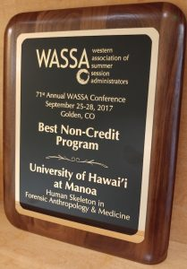 The Award plaque is shown
