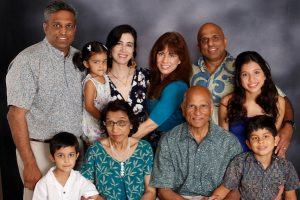 A photo of the Reddy family and grandchildren.
