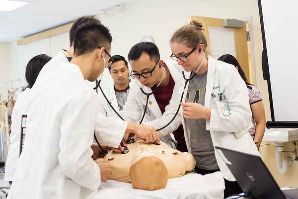 Class of 2020_students examine a mannequin during an exercise in the Loui Lab