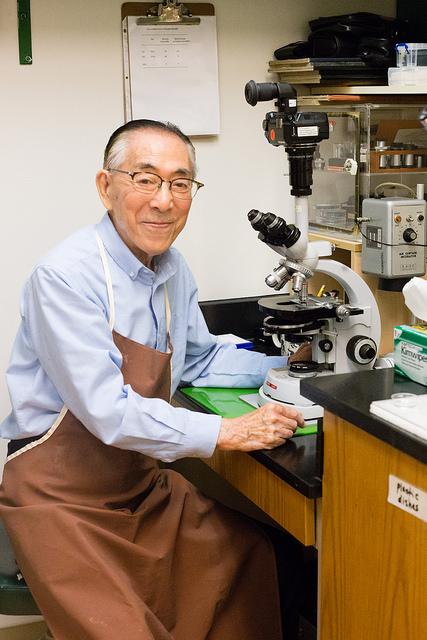 """""""Yana"""" in his lab in the Institute for Biogenesis Research. Deborah Manog Dimaya Photo, 2018."""