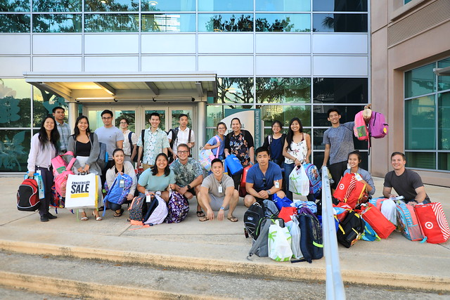 Medical students ready to distribute school supply donations to a homeless shelter.
