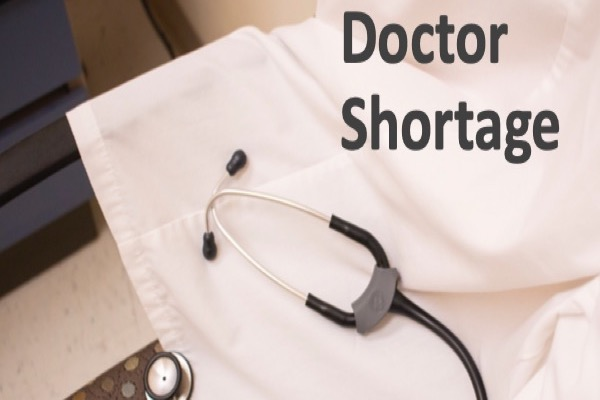 """A stethoscope with the words """"Doctor Shortageʻ"""