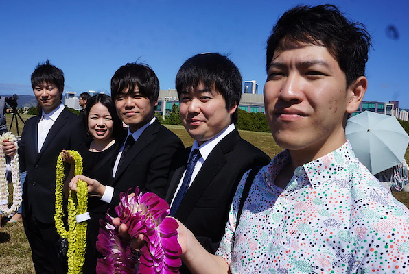 MDs from Uwajima City Hospital with Lei at Ehime Memorial 2020 TShelton photo